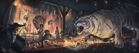 Hunter's feast - hunter, ivan shvydkov, fantasy, luminos, feast, tiger, tigru