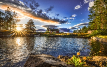 Ringerike, Tyrifjorden, Norway - cabins, boat, sunrise, morning, trees, clouds