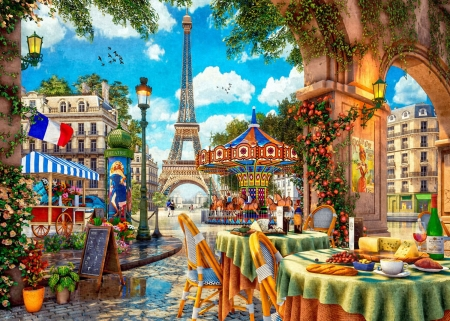 Paris Day Out - eiffel tower, houses, flowers, trees, flag, table, lantern, artwork, restaurant, carousel, digital