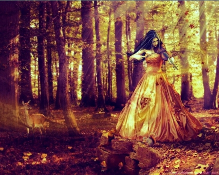Autumn Sonata - Sunlight, Roses, Woman, Violin, Gold, Yellow, Forest, Tucked Material, Squirrel, Trees, Rust, Bow, Dress, Brown, Light, Orange, Foilage, Elegant, Leaves, Sonata, Music, Brunette, Deer, Draped