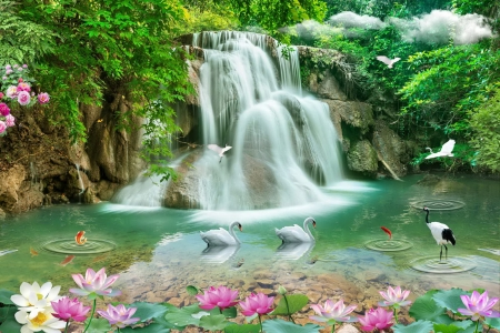 Waterfall in paradise - forest, pond, lotus, paradise, birds, waterfall, lilies, beautiful