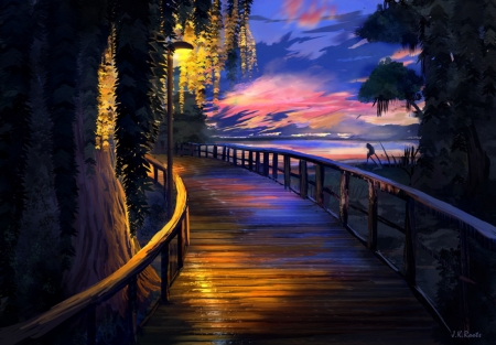 Seaside Sunset - art, johannes roots, fantasy, vara, luminos, seaside, summer, sunset