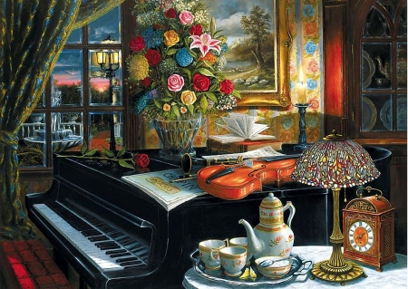 Sound of Music - window, coffee, flowers, sunset, evening, piano, porcelain, violin, still life, painting