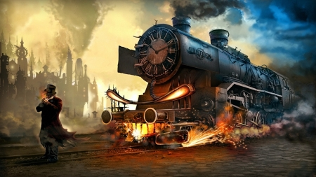 The Ghost Train on Track 9 - ghost, train, fire, sparks, steam, smoke