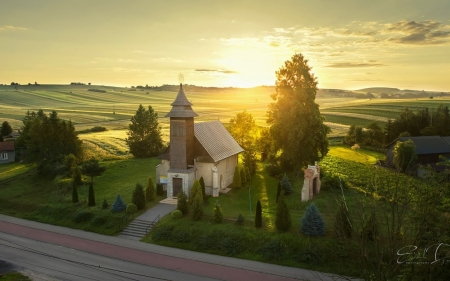 Church in Poland at Sunrise