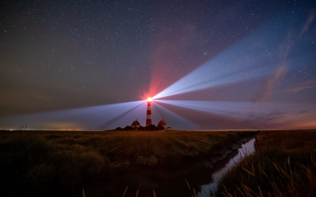 Lighthouse in Germany - Germany, rays, night, lighthouse