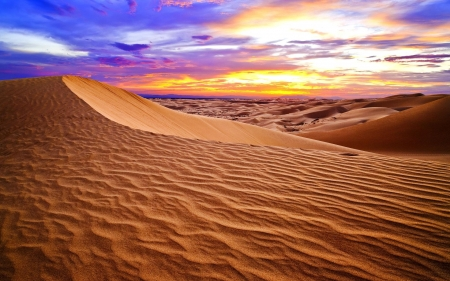 A desert underneath a colorful evening sky - evening, clouds, sky, sahara, colorful, desert, orange, sand, gold, purple, blue