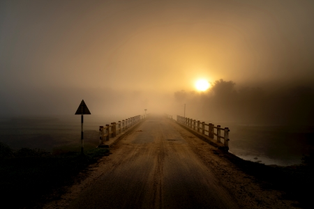 Bridge at sunset - nature, sunset, fog, mist, Fall, autumn, orange, brown, perspective, dusk, mood, photography, dark