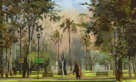 A walk in the park - bear, walk, park, davood moghadami, art, luminos, animal, davood moghadamu, fantasy, girl, urs, palm tree