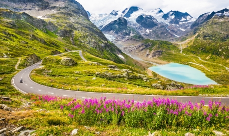 Motorcyclist on mountain pass road - drive, Alps, view, wind, beautiful, pass, lake, motorcyclist, mountain, speed, wildflowers, summer, road, scenery, gorgeous