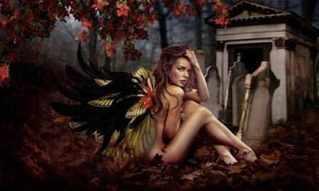Forbidden Love - lovely, enchanting, dreamy, Fantasy girl, magical, mythical, wingsl, wings, Gravestones, Fairy