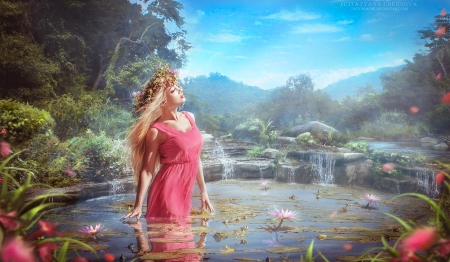Spring Nymph - unearthly, eauty, Water, pond, dreamy, Nymph, magical, Fantasy