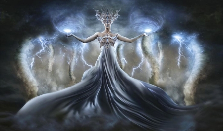 Storm Goddess - dreamy, Tornados, digital, Fantasy girl, magical, mythical, storm, fantasy art