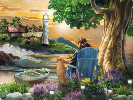 Old Friends - flowers, man, chair, dog, sea, lighthouse, artwork, boat, tree, painting