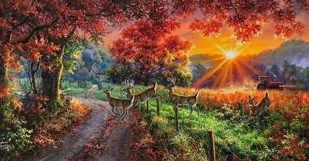 Country Lane Whitetails - house, tractor, sun, tree, sunset, sky, artwork, deer, painting