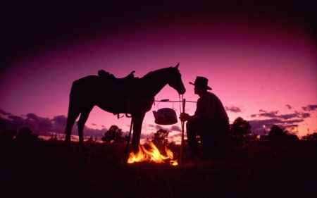 Cooking Beans..for me and 'Trigger' - fire, food, purple, beautiful, cowboy, horse, sky, night