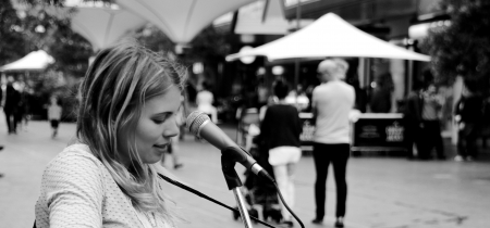 Street Performer - singer, monochrome, woman, music, people