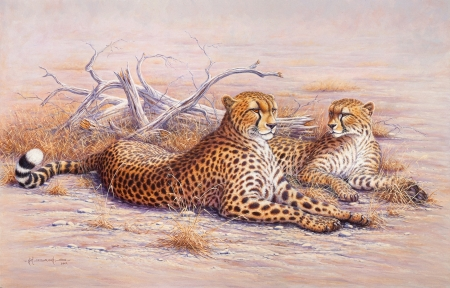 Two Cheetahs - cheetah, two, cats, animals, paint