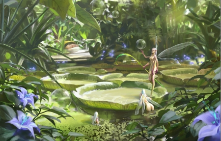 Fairies - bear paw, superb, lake, pond, mini, vara, water, green, girl, flower, summer, gorgeous, fairy, lotus, bubbkes, bubbles, blue, frumusete, luminos