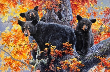 Beary Tree - fall, autumn, leaves, painting, colors, bears, artwork