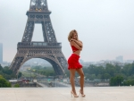 Model in Red at the Eiffel Tower