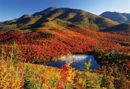 Adirondack Park, Adirondack, New York - Red, Sky, Orange, Foilage, Gorgeous, View, Beauty, Hillsides, Mountains, Rust, Green, Miles of Color, Splendor, Colors, Lake, Gold