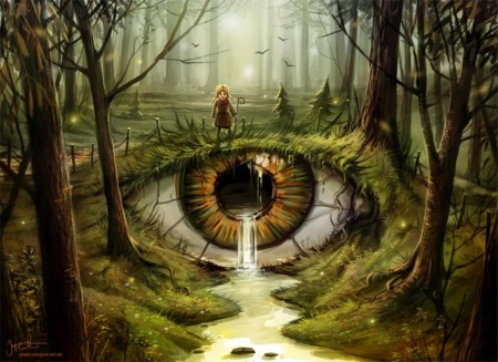 ..In The Eye of the..'Beholder' - forest, mystical, art, fantasy, enchanting, Tears, eye, river
