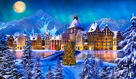 Alpine Christmas Village - Village, winter, alpine, scenic, christmas tree, christmas, buildings, Mountains, moon, snow, Bridge, river