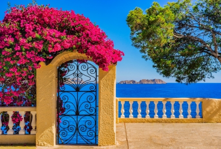 Idyllic view to Mediterranean sea coast - Mediterraneo, idyllic, arch, view, summer, beautiful, coast, gate, exotic, sea