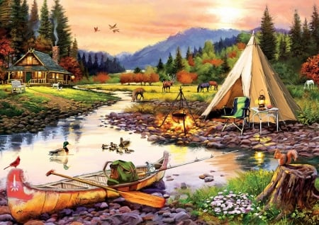 Camping Friends - mountains, natives, cabin, river, canoe, deer, horses, squirrel, ducks, painting