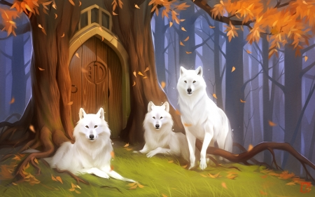 White Wolves - tree, white, wolves, forest, anime, doors
