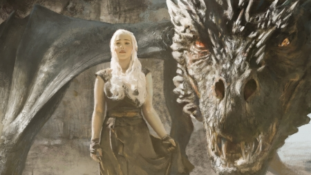 Daenerys - art, pride w, fantasy, luminos, girl, game of thrones, daenerys targaryen, dragon