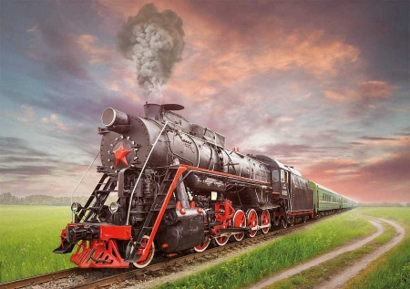 Steam Train - railways, locomotive, sky, landscape, clouds