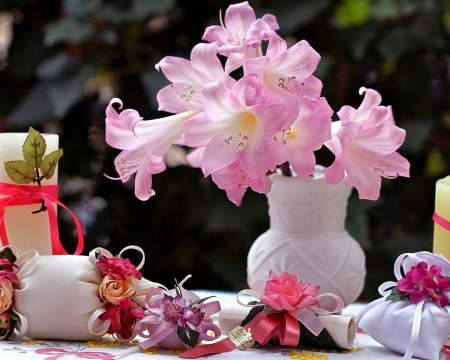 Beautiful Flowers - candle, flowers, nature, pink