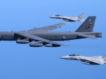 B-52 Stratofortress Flanked by 2 F-15 Eagles