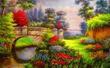 Vibrant flowers bridge - painting, flowers, river, bridge