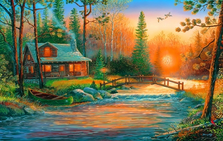 Sunrise - sunrise, cabin, river, bridge, painting