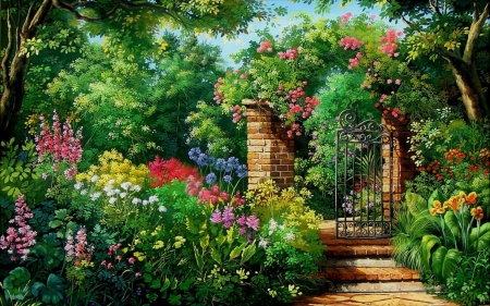English garden - flower, garden, tree, stair