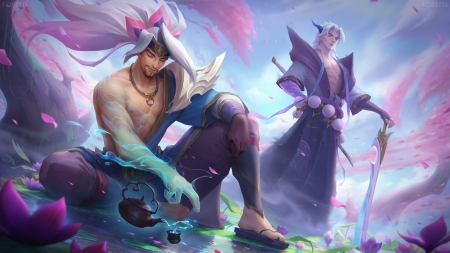 Yasuo and Yone ~ Tea Ceremony - spirit, blossom, fantasy, yone, yasuo, man, pink, blue, foritis wong