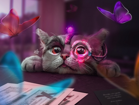 Feline perspective - creative, pink, cat, frumusete, luminos, superb, fantasy, victor matheus, butterfly, face, pisici, gorgeous