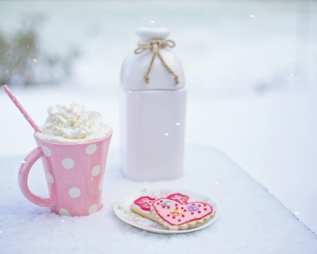 Winter Cup - cup, food, pink, winter