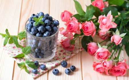 Blueberries with Roses