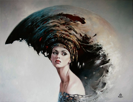Fantasy girl by Karol Bak - art, karol bak, fantasy, luminos, girl, painting, face, pictura