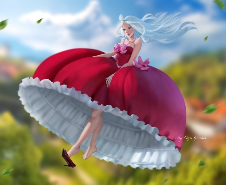 Pink parachute - luminos, girl, wind, summer, elyn gontier, dress, frumusete, fantasy, vara, pink