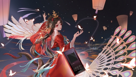 Fantasy girl - fantasy, girl, butterfly, she xing, hand fan, shexing, dancer, red, lantern, luminos