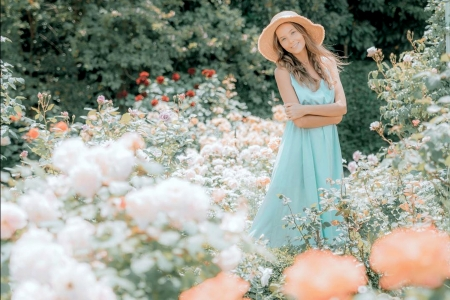 Katya Clover in a Flower Garden - flowers, brunette, dress, model, smile