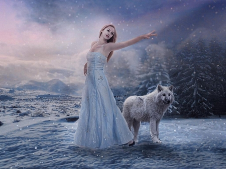 Go Winter go - nature, wolf, snow, girl