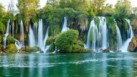 Beautiful waterfall - Balkans, river, beautiful, Bosnia and Herzegovina, waterfall, trees