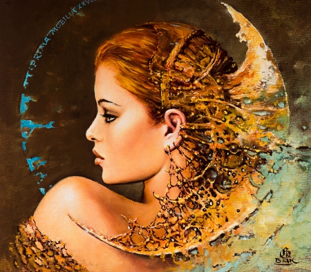 Fantasy girl by Karol Bak - moon, fantasy, orange, luminos, girl, pictura, karol bak, art, painting, face