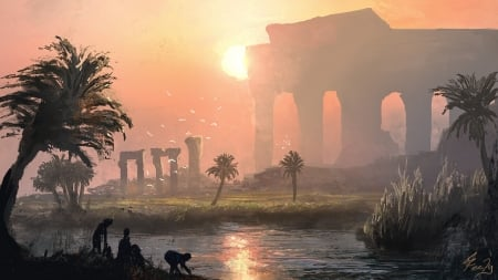 Ancient sunset - frumusete, fantasy, summer, joseph feely, sunset, egypt, palm tree, art, luminos, vara